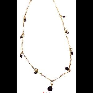 "Jewelry - Ladies black beaded 16"" goldstone choker"